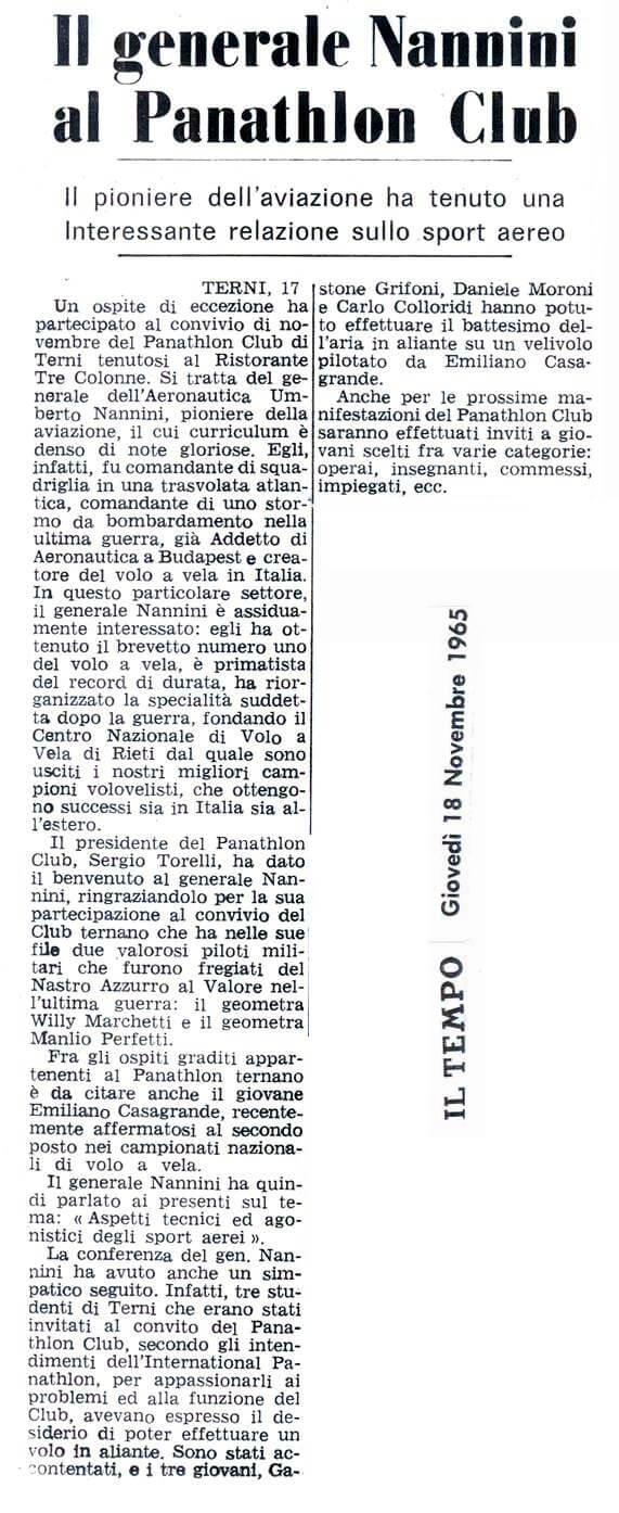 1965 - ll Generale Nannini al Panathlon Club di Terni