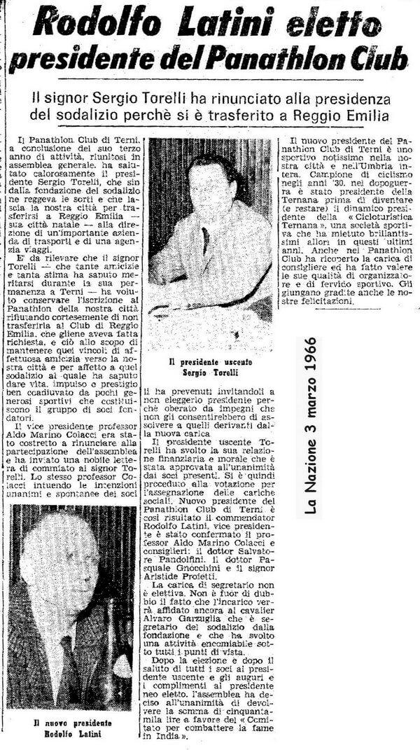 1966 - Rodolfo Latini eletto presidente del Panathlon Club di Terni
