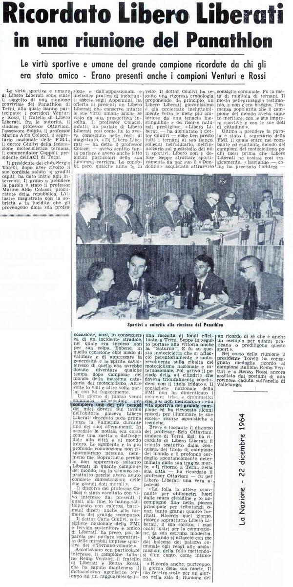 1964 - Ricordato Libero Liberati al Panathlon Club di Terni