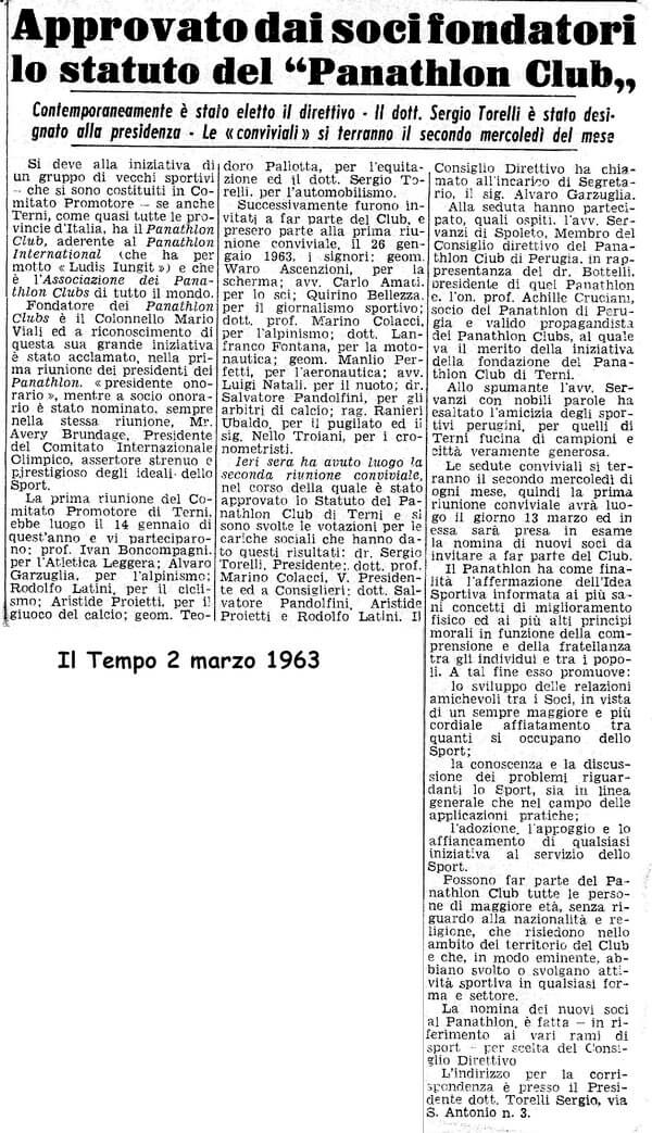 1963 - Approvazione Statuto al Panathlon Club di Terni